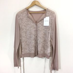 Valentino Floral Lace Cardigan Dusty Pink Sz Large